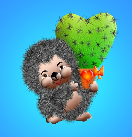 The Illustration hedgehog with cactus in the form heart.           illustration