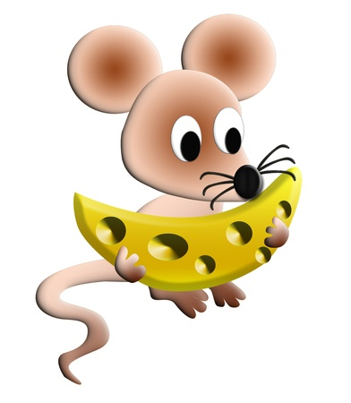 The Illustration hungry mouse with cheese is insulated.           Stock Photo