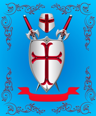 crusades: The Shield with weapon on turn blue the background.
