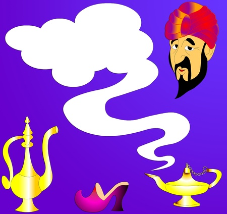 The Fairy-tale genie and lamp with smoke.