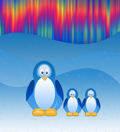 The Penguins on background of the northern lights. photo