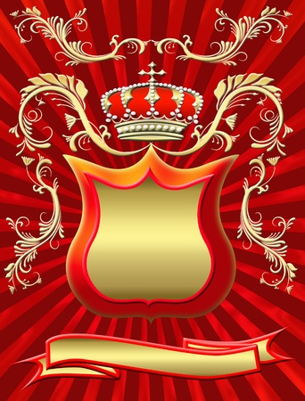 Board and crown with an ornament on a radiant background photo