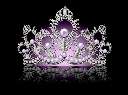 Crown with pink pearls on a black background.