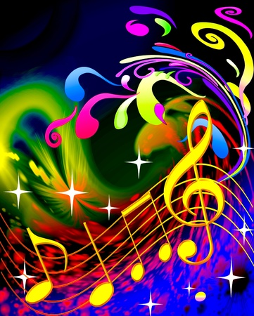 illustration music and waves on bright background illustration