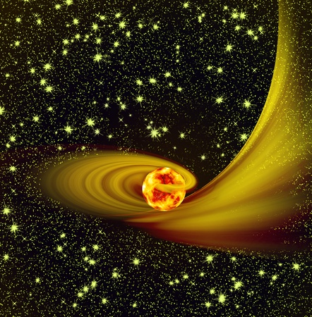 amongst: Flying to cosmos amongst stars overheated planet. Stock Photo