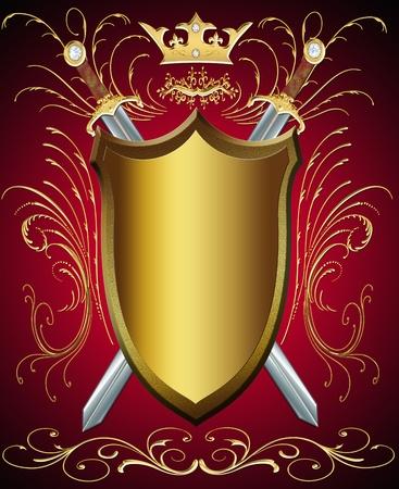 escudo militar: ilustraci�n de escudo y arma con el patr�n y la corona Foto de archivo
