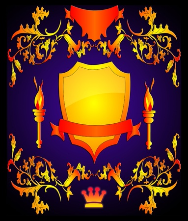torchlight: The Shield with torchlight by pattern on turn blue the background. Stock Photo