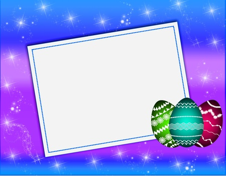 Card for Easter with the eggs painted with an ornament on a blue background. photo