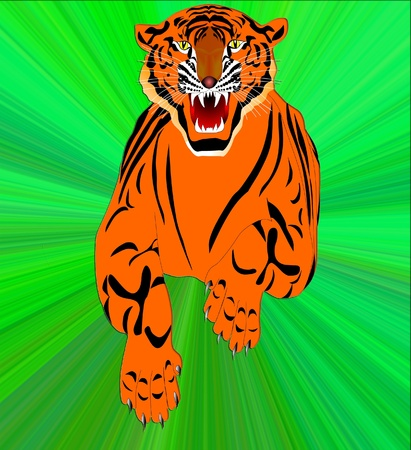 premises: The Symbol of the new year- tiger jumps in cosmos date.