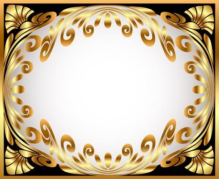 illustration horizontal frame with gold(en) winding pattern