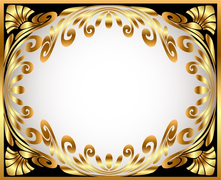 black textured background:  illustration horizontal frame with gold(en) winding pattern