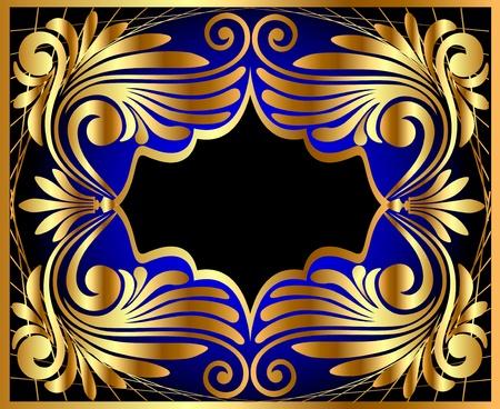 illustration horizontal frame with gold(en) antique pattern