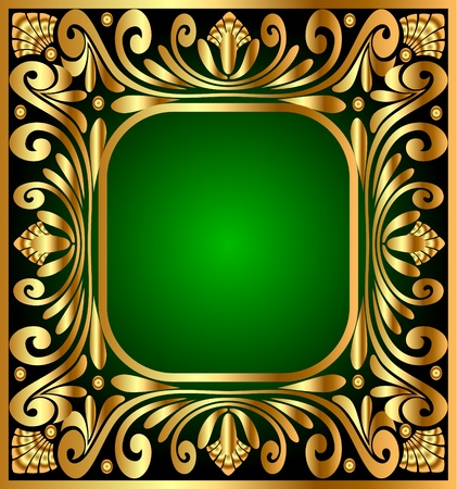 illustration square frame with gold(en) antique pattern Vector