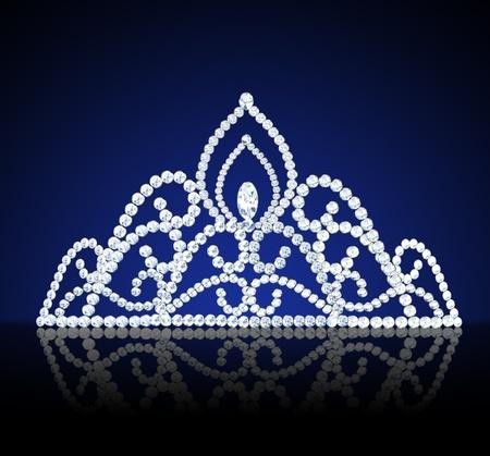illustration diadem feminine wedding with diamond on dark