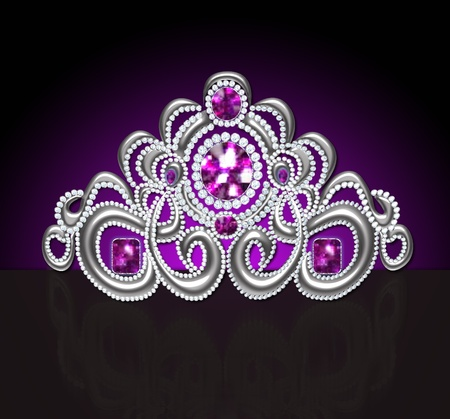 illustration diadem feminine wedding with lilac stone on dark illustration
