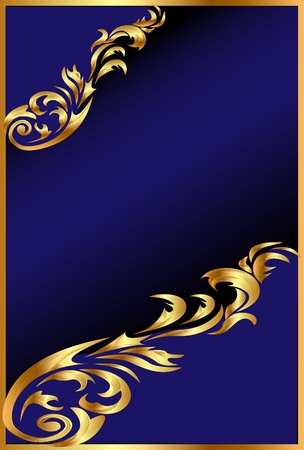 illustration blue background with gold(en) ornament on black Vector