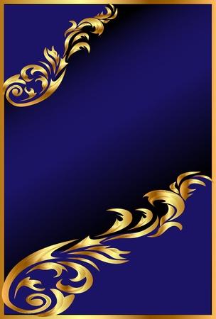diplomas: illustration blue background with gold(en) ornament on black Illustration