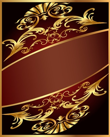 Illustration background with gold(en) ornament and brown band Stock Vector - 11809360