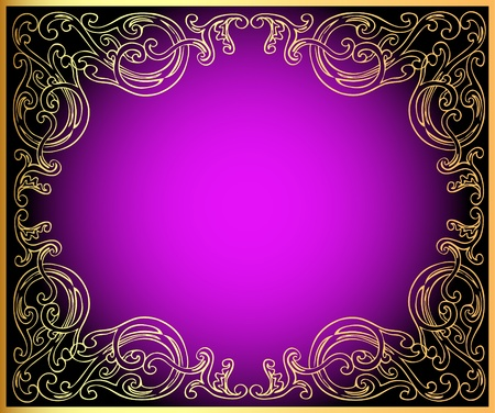 Illustration background with gold(en) ornament on lilac and black Vector
