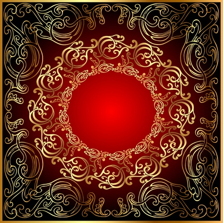 Illustration background with gold(en) ornament on red and black Vector