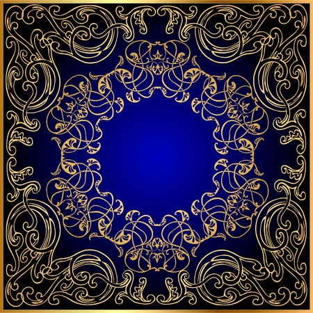 Illustration background with gold(en) ornament on turn blue and black Vector