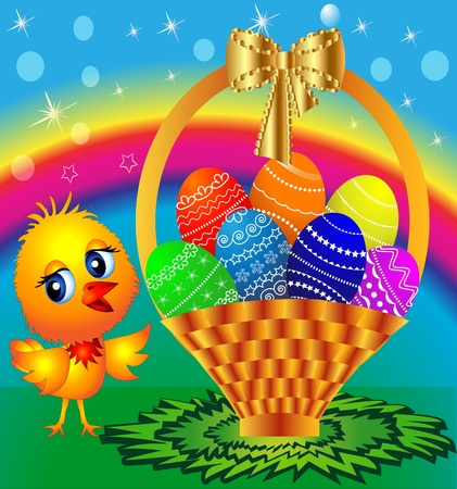 illustration festive basket with painted egg and chicken Vector