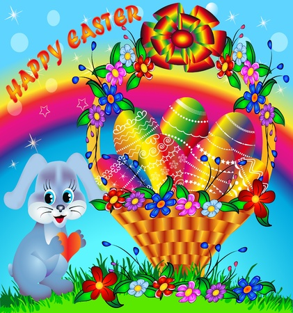 illustration festive basket with painted egg and rabbit Vector