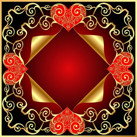 illustration frame with gold(en) pattern with heart and wreathed small piece of coal Vector