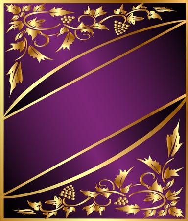 illustration background with gold(en) grape pattern and band