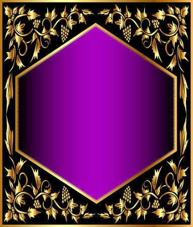 illustration background frame with gold(en) grape pattern Vector