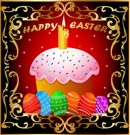 metal spring: illustration easter with candle and painted egg in gold(en) frame
