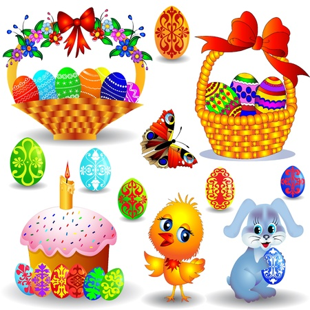 eggs in basket: illustration peaster set with candle and basket with painted egg chicken and rabbit Illustration