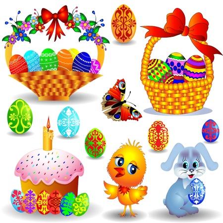 huevo caricatura: Peaster ilustraci�n establece con la vela y la cesta con huevo de gallina pintada y el conejo Vectores