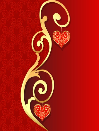 illustration background with pattern with heart by bow from gild Vector