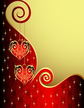 illustration background with heart from gild and spiral Vector