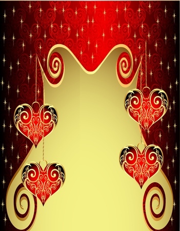 engraved image: illustration pattern background with heart from gild and spiral Illustration