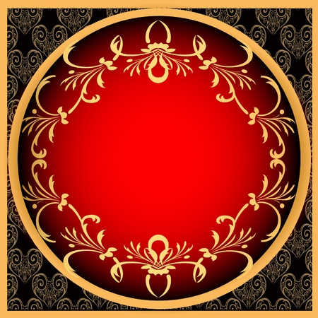 illustration retro frame background with gold(en)  pattern Vector