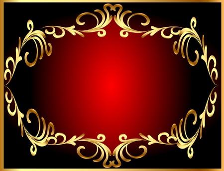 illustration frame background with gold(en) winding pattern Vector