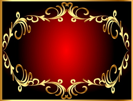 aristocrat: illustration frame background with gold(en) winding pattern