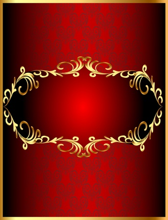 illustration frame background with gold(en) winding pattern and heart Vector