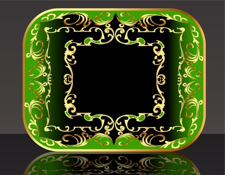 illustration frame background with gold(en) winding pattern and reflection Vector
