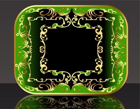 corona navidad: marco de la ilustración de fondo de oro (es) de liquidación de patrones y la reflexión Vectores