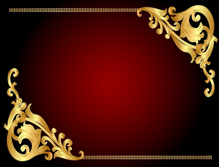 golden frame: illustration frame background with gold(en) angular pattern