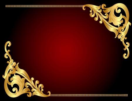 corona navidad: ilustración marco de fondo con el patrón oro angular (es)