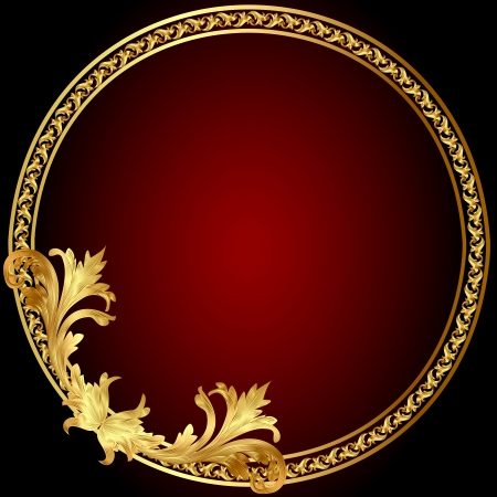 illustration frame with gold(en) pattern on circle Vector