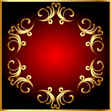 gold frame: illustration frame background with gold(en) pattern on circle Illustration