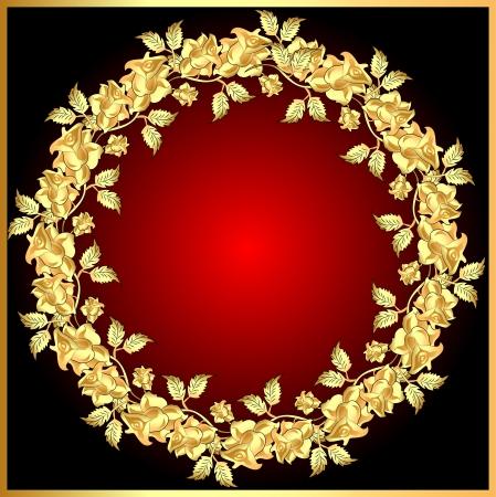 the oval: illustration background with gold(en) rose on circle Illustration