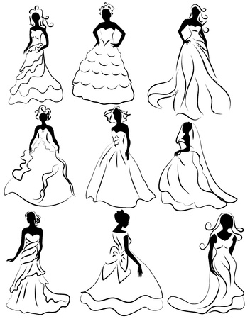 sexy black woman: illustration kit silhouette of the brides in wedding charge Illustration