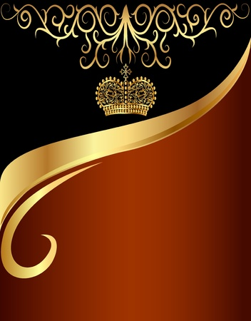 illustration background with gold(en) pattern and with tsarist crown Vector
