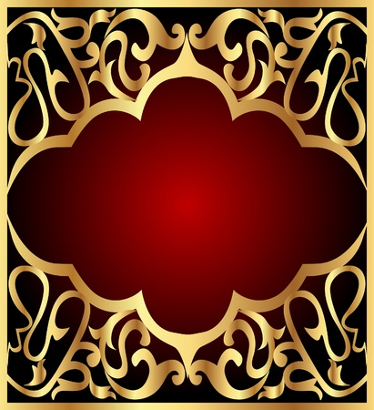 illustration background frame with gold(en) east pattern Vector